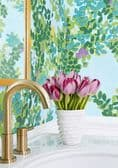 Thibaut Central Park Wallpaper in Blue and Green